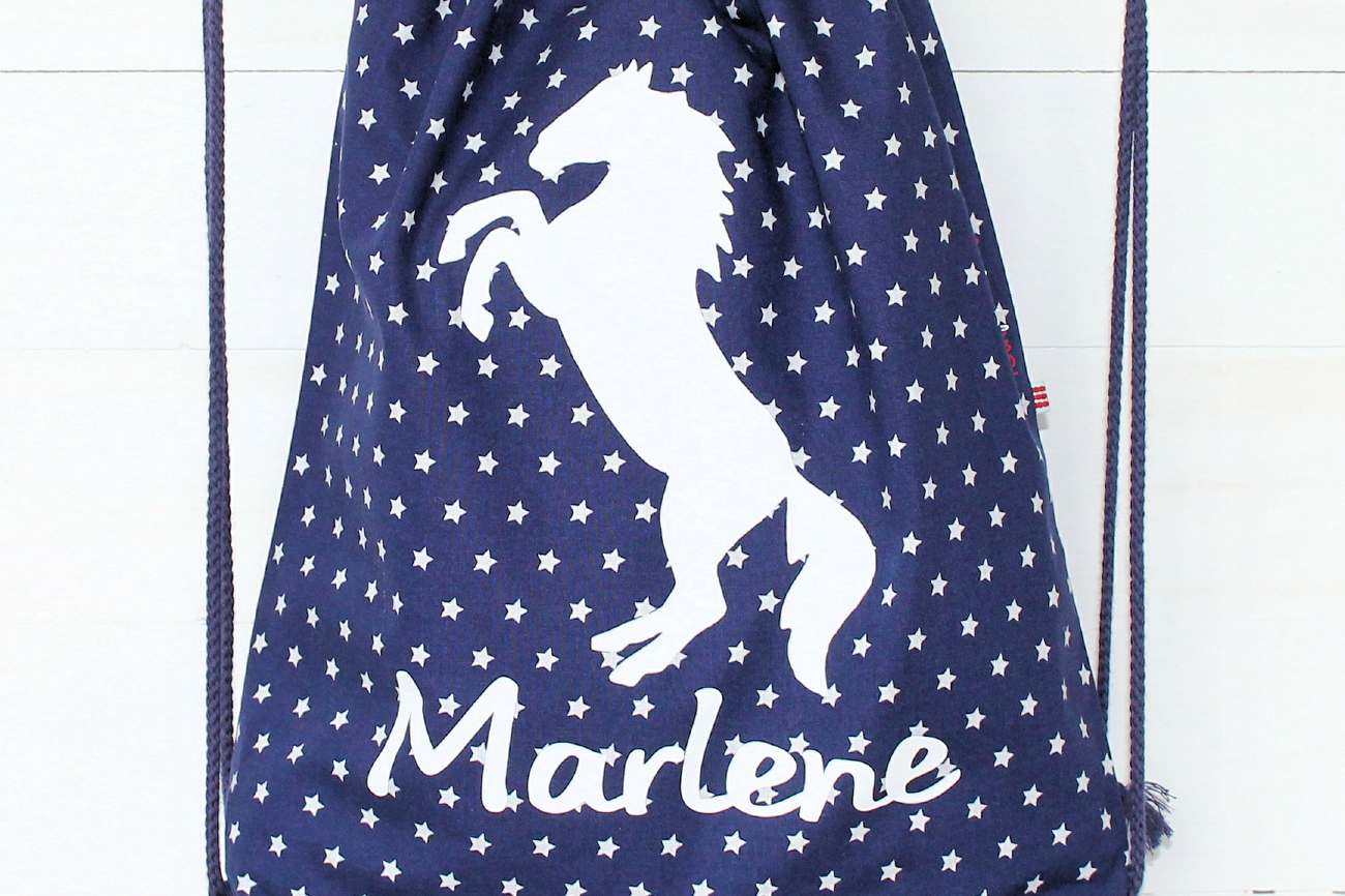 f07d8e20d2b27 Turnbeutel  Pferd  in blau mit Namen personalisiert